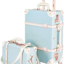 """COTRUNKAGE 24 Inch Large Vintage Luggage Set 2 Pieces Rolling Suitcases for Women (13"""" & 24"""", Sky... 