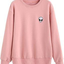SweatyRocks Womens Casual Long Sleeve Pullover Sweatshirt Alien Patch Shirt Tops   Amazon (US)