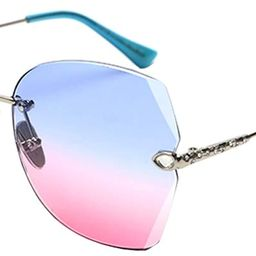 SOSUSHOE Sunglasses For Women Oversized Rimless Diamond Cutting Colorful Lens Fashion   Amazon (US)