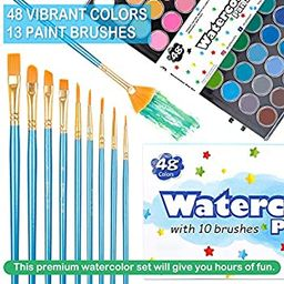 61 Pack Watercolor Paint Set, Shuttle Art 48 Colors Watercolor Pan with 13 Paint Brushes for Begi... | Amazon (US)