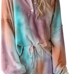 BTFBM Women Pajamas Tie Dye Print Long Sleeve Shirt Elastic Drawstring Shorts Pant PJ Set Sleepwe...   Amazon (US)