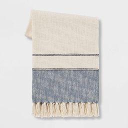 "50""x60"" Border Striped Cotton Throw Blanket - Threshold™ | Target"