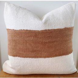 Modern Off White & Rust Mudcloth Pillow Cover | Mud cloth w Copper Stripe | Colorblock | Cream Li... | Etsy (US)