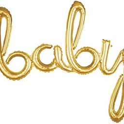 Amscan Gold Baby 3D Script Foil Balloon - 1pc, One Size (39 Inches) | Amazon (US)