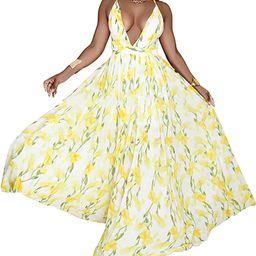 FANDEE Summer Dresses for Women Maxi Sexy Strap Floral Chiffon V Neck | Amazon (US)
