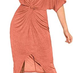 Floerns Women's Short Sleeve V Neck Twist Front Split Midi Dress | Amazon (US)