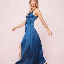 Satin V Neck Slit Maxi Dress | NastyGal