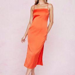 Satin Square Neck Split Hem Midi Dress | NastyGal