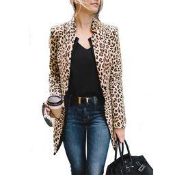 Women Leopard Blazer Jacket Cardigan Top Ladies Leopard Coat Formal OL Suit Outwear | Walmart (US)
