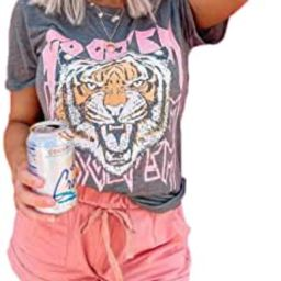 Tiger Printed Short Sleeve Tshirts,Womens Summer Crewneck Graphic Tee Shirt Blouse Tops   Amazon (US)
