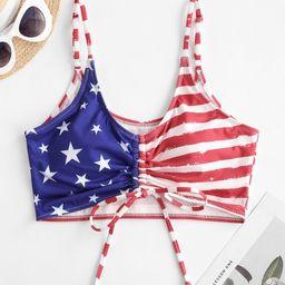 ZAFUL Patriotic American Flag Cinched Ribbed Swim Top   MULTI-A   ZAFUL (Global)