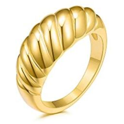JINEAR 18k Gold Plated Croissant Braided Twisted Signet Chunky Dome Ring Stacking Band for Women ... | Amazon (US)