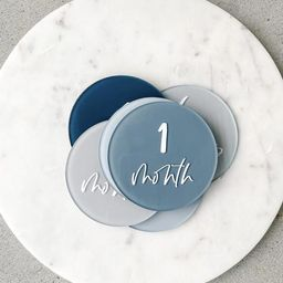 Monthly Milestone Markers Acrylic Discs Baby Boy Blue Gray Navy Colors Baby First Year Newborn Sh... | Etsy (US)