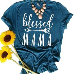 JINTING Blessed Mama Tee Shirt for Women Short Sleeve Letter Printed Graphic Mama Gifts Tee Shirt...   Amazon (US)