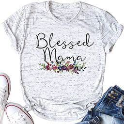 YUYUEYUE Women's Blessed Mama Letters T Shirt Short Sleeve Tops Tee   Amazon (US)