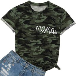 Camouflage Shirts Women Tie Dye Mama Letter Printed T-Shirt Heart Graphic Casual Short Sleeve Tee...   Amazon (US)