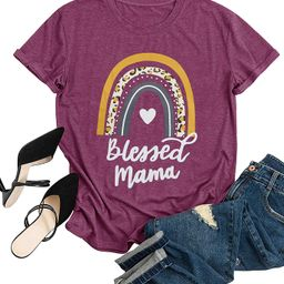 Blessed Mama T Shirt Women Funny Rainbow Graphic Tees Mother Gifts Casual Tops Blouse | Amazon (US)