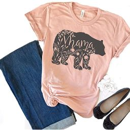Women's Floral Mama Bear Print Crew Neck Short Sleeve T Shirts for Mom Mother's Gift | Amazon (US)