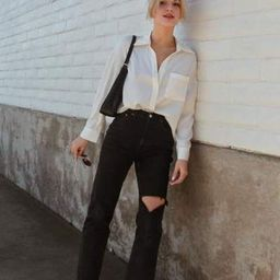 Silky White Button-Up Blouse | J.ING
