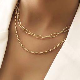 2pcs Metal Chain Necklace   SHEIN