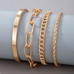 4pcs Simple Chain Bracelet   SHEIN