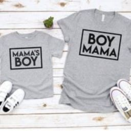 Personalised matching boy mama tshirt set, matching mother and baby tshirt, tshirt set, twinning, ba   Etsy (US)