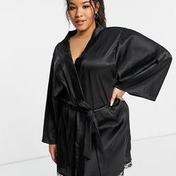 Brave Soul Plus satin kimono robe in black   ASOS (Global)
