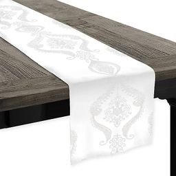 Softline Kendra Embroidered Table Runner in White   Bed Bath & Beyond   Bed Bath & Beyond
