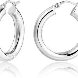 Lightweight Chunky Hoops   14K Gold Plated Small Thick Sterling Silver Post Hoop Earrings for Wom...   Amazon (US)
