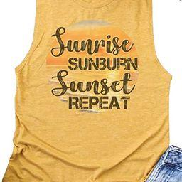 AIMITAG Sunrise Sunburn Sunset Repeat T Shirt Country Music Tank Tops Women Letter Graphic Shirts... | Amazon (US)