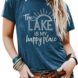 KIDDAD The Lake is My Happy Place Shirt Womens Lake Life T-Shirt Short Sleeve Summer Casual Tee T... | Amazon (US)