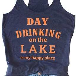 Day Drinking on The Lake Tank Tops for Women Funny Letter Print Tee Shirt Sleeveless Summer Beach... | Amazon (US)