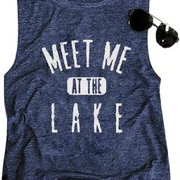 LAMOSKY Meet Me at The Lake Tank Top Women Lake Life Vest Tops Summer Vacation Holiday Casual Sle... | Amazon (US)