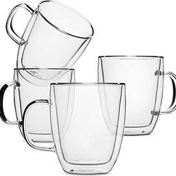 BTaT- Insulated Coffee Mug, Coffee Glass, Large, Set of 4 (16oz, 500ml), Double Wall Glass Coffee...   Amazon (US)