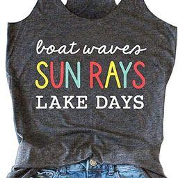 Boat Waves Sun Rays Lake Days Tank Tops Women Lake Life Shirt Summer Beach Vacation Sleeveless Ra... | Amazon (US)