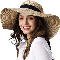 Womens Sun Straw Hat Wide Brim UPF 50 Summer Hat Foldable Roll up Floppy Beach Hats for Women | Amazon (US)