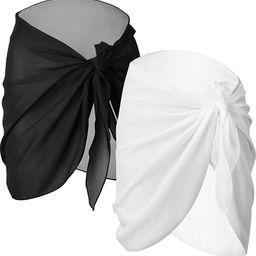 Chuangdi 2 Pieces Women Beach Wrap Sarong Cover Up Chiffon Swimsuit Wrap Skirts | Amazon (US)