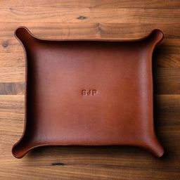 MONOGRAMMED Leather Catchall - Large, Brown (groomsmen gifts, personalized valet tray, custom lea... | Etsy (US)