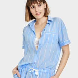 Women's Striped Simply Cool Short Sleeve Button-Up Shirt - Stars Above™ Blue   Target