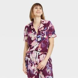 Women's Floral Print Simply Cool Short Sleeve Button-Up Shirt - Stars Above™ Purple   Target
