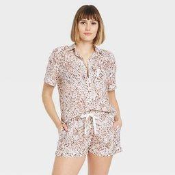 Women's Leopard Print Simply Cool Short Sleeve Button-Up Shirt - Stars Above™ Cream   Target