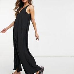 ASOS DESIGN v neck minimal smock jumpsuit in black | ASOS (Global)