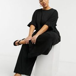 ASOS DESIGN curve jersey smock jumpsuit with ruffle sleeve in black | ASOS (Global)