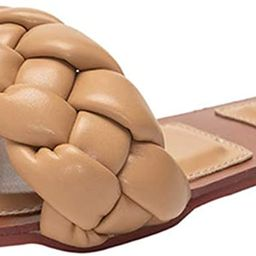 BeneModa Women's Square Open Toe Flat Sandals Slip On Mule Slides Braided Strap Slipper Vacation ... | Amazon (US)