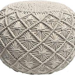Casa Platino Pouf Ottoman Hand Knitted Cable Style Dori Pouf - Macramé Pouf - Floor Ottoman - Co...   Amazon (US)