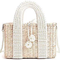 LiuliuBull W Women's Bag with Pearl Ladies Hand Bags Straw Basket Large Tote Crossbody Messenger ... | Amazon (US)