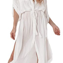 Wander Agio Womens Bikini Cover Ups Beach Casual Dress Coverup Swimsuits Long Cardigan Button | Amazon (US)