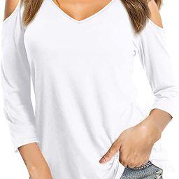 Amoretu Womens Summer Tshirts V Neck Cold Shoulder Tunic Tops Blouse Shirts | Amazon (US)