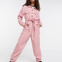 Tommy Jeans long sleeve utility coveralls in pink | ASOS (Global)