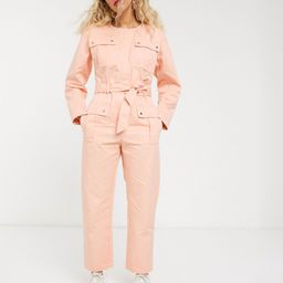 & Other Stories pocket detail utility jumpsuit in bleached peach-Pink | ASOS (Global)